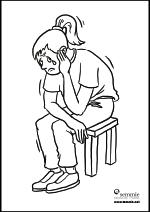 kleurplaat verdrietig meisje